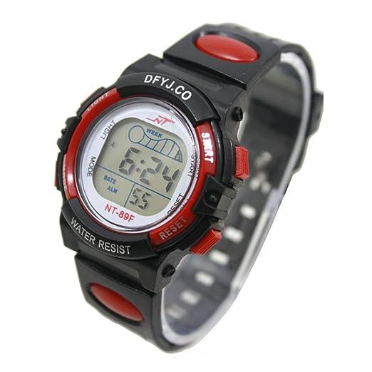 Reloj Niños, Deportivos Impermeable Prueba Alarma Fecha Agua Relojes Deporte Muñeca rojo negro: Amazon.es: Relojes
