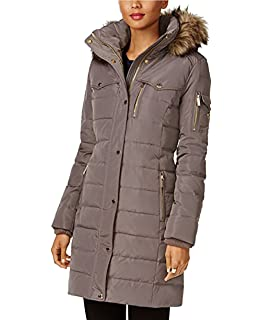 69d75f2b59393 Amazon.com  MICHAEL Kors Hooded Faux Fur Down Puffer Coat women s ...