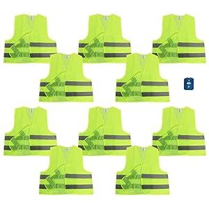 Com-Four Lot de 10 JAUNES Gilet de sécurité 100% polyester taille unique DIN 471 + Gratuit Disque de stationnement avec grattoir et lèvre en caoutchouc