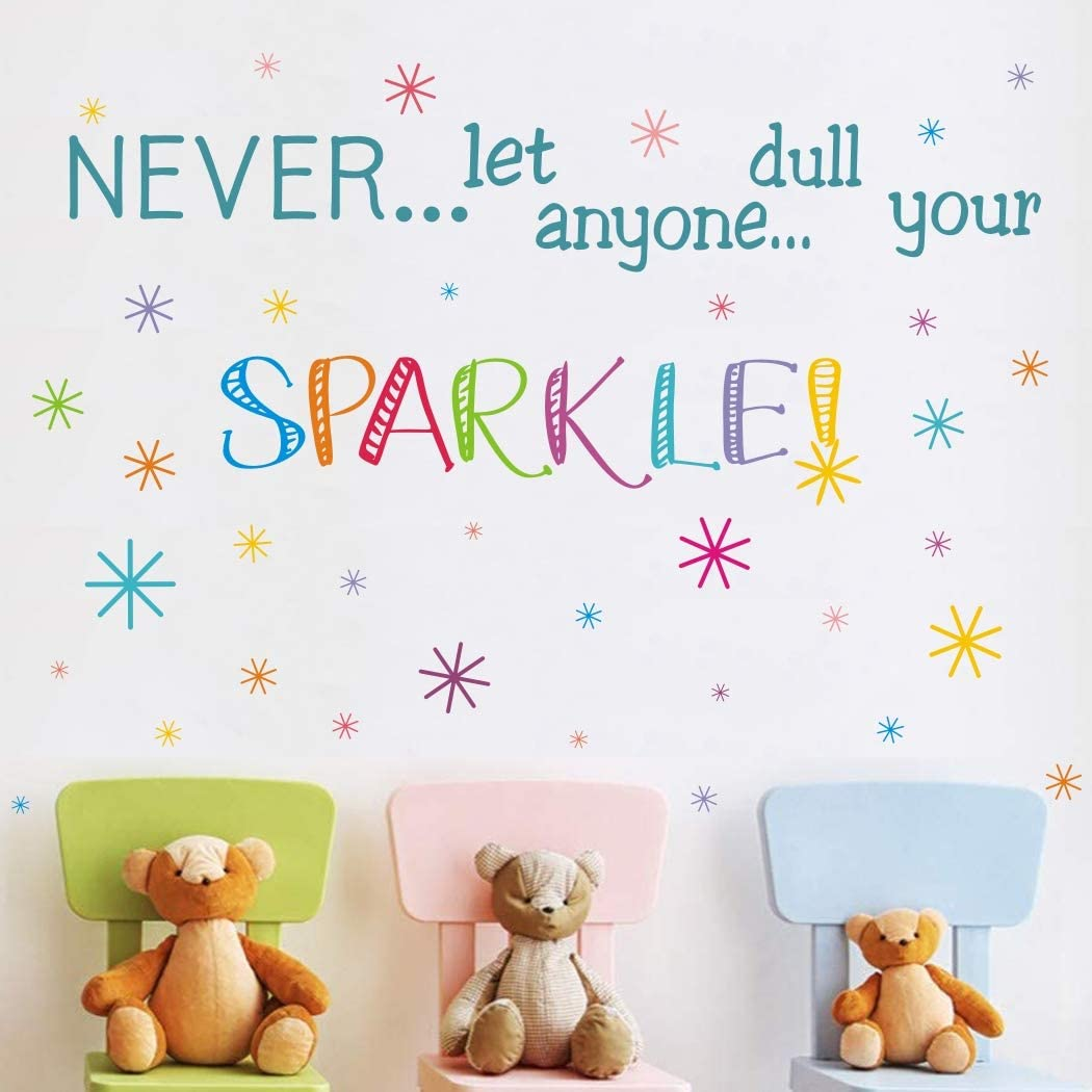 Never Let Anyone Dull Your Sparkle Wall Decals, Inspirational Quotes Wall Stickers, Doodle Colorful Stars Wall Art for Playroom Nursery Kindergarten