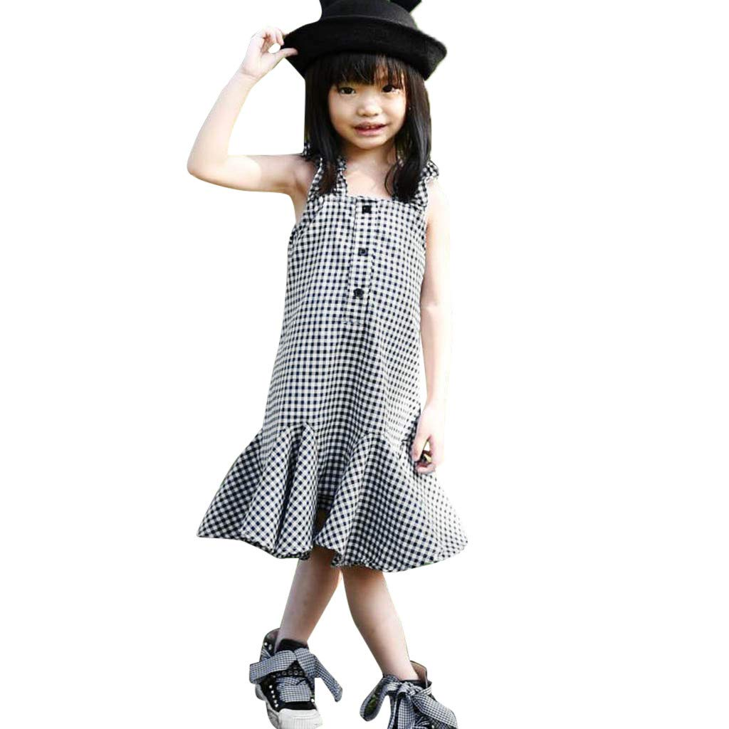 NUWFOR Summer Toddler Baby Girls Sleeveless Plaid Print Pleated Dress Clothes Dresses(Black,6-12 Months)