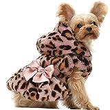 Fitwarm Fluffy Faux Fur Leopard Dog Coats Pet Jackets Cat Winter Clothes Hoodies Pink Medium