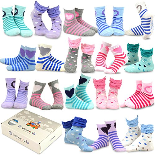 Price comparison product image TeeHee Kids Girls Fashion Cotton Fun Crew 18 Pair Pack Gift Box (6-8Y, Heart Stripe and Ruffle)