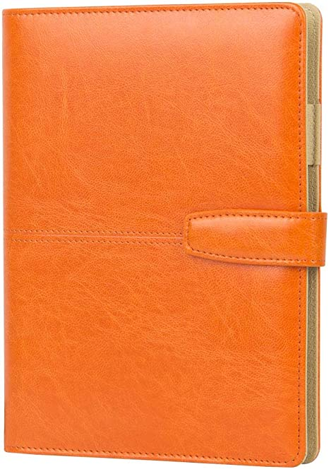 Refillable Journal with Pen Holder Orange PU Soft Cover Leather Journal Travelers Lined A5 Planner Binder 6 Ring The Circular Ring Orange