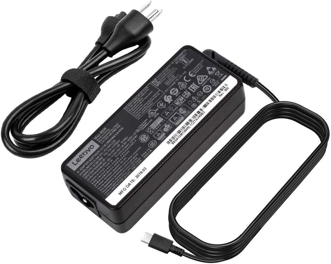 New 65W AC Charger for Lenovo ThinkPad T480 T480s T490 T490s T495 T495s T580 T590 E480 E490 E490s E495 E580 E590 E595 X1 ADLX65YLC3A ADLX65YAC2A USB Type C Laptop Power Supply Adapter Cord