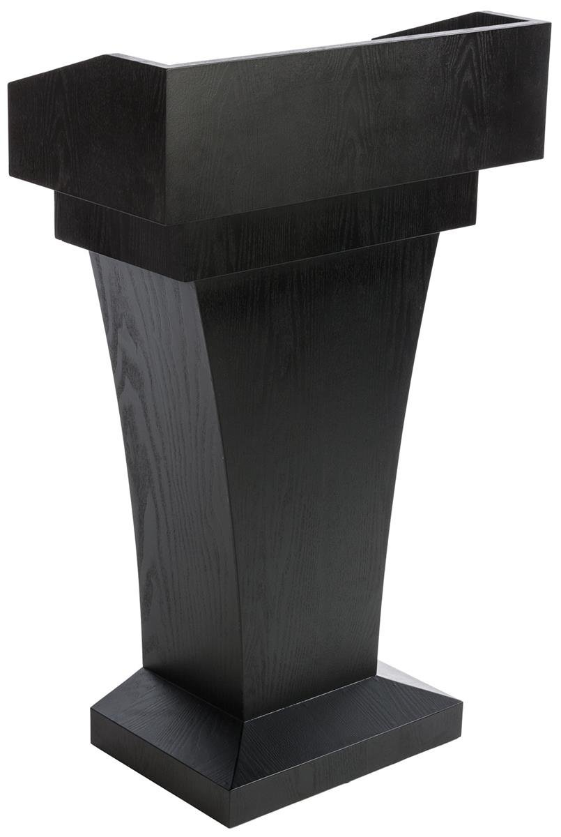 Displays2go Wood Speaking Lectern, Drawer & Storage Area, Black MDF Wood (LCTFSRSTSB)