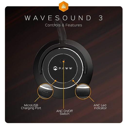 cd899717d31 Amazon.com: Paww WaveSound 3 Bluetooth 5.0 Wireless Active Noise Cancelling  Over Ear Headphones w/Mic, Hi-Fi, Deep Bass, aptX Low Latency, ShareMe,  Siri, ...
