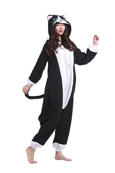 Hstyle Adultos Trajes Unisex Mamelucos Pijama De Halloween Cosplay Disfraces De Navidad Gato Negro: Amazon.es: Ropa y accesorios