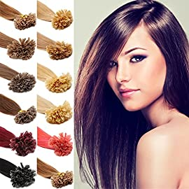 Fenicy Double Drawn Hair Extensions Pre-Bonded Keratin Nail U Tip Remy Human Hair 1g/s 50S (16Inch, 06 Chocolate Brown)