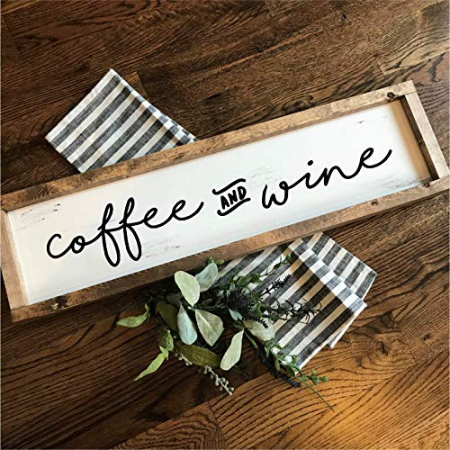 Coffee and Wine   Hand-painted Over-sized Wooden Sign   Modern Farmhouse Style   Fixer Upper inspired home - Dogwood Plaque