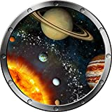 "12"" Porthole Instant Space Ship Window View SOLAR SYSTEM #2 SILVER Wall Sticker Kids Decal Room Home Art Décor Graphic SMALL"