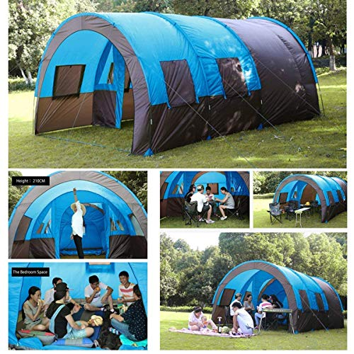 KingSo Camping Tent 8-10 People Waterproof Tunnel Double Layer Large Family Canopy Sunshade Xmund XD-ET4