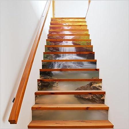 Escalera Pegatina Pegatinas de Pared Auto-adhesivo de la cascada de DIY 3D Reciclado Papel pintado respetuoso del medio ambiente del PVC Decoraciones caseras del arte mural Desprendible, fácil aplicar: Amazon.es: Hogar