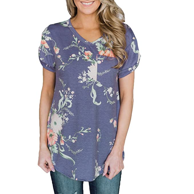 736c0824bd1 Women Blouses Short Sleeve Floral Tops for Women Casual Loose Shirts Navy  Blue S
