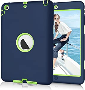 Hocase iPad Mini 2/3 Case, Heavy Duty Shockproof Protection Hard Plastic+Silicone Rubber Bumper Hybrid Dual Layer Protective Case for iPad Mini 1/2/3 (7.9-inch Display) - Navy Blue/Lime Green