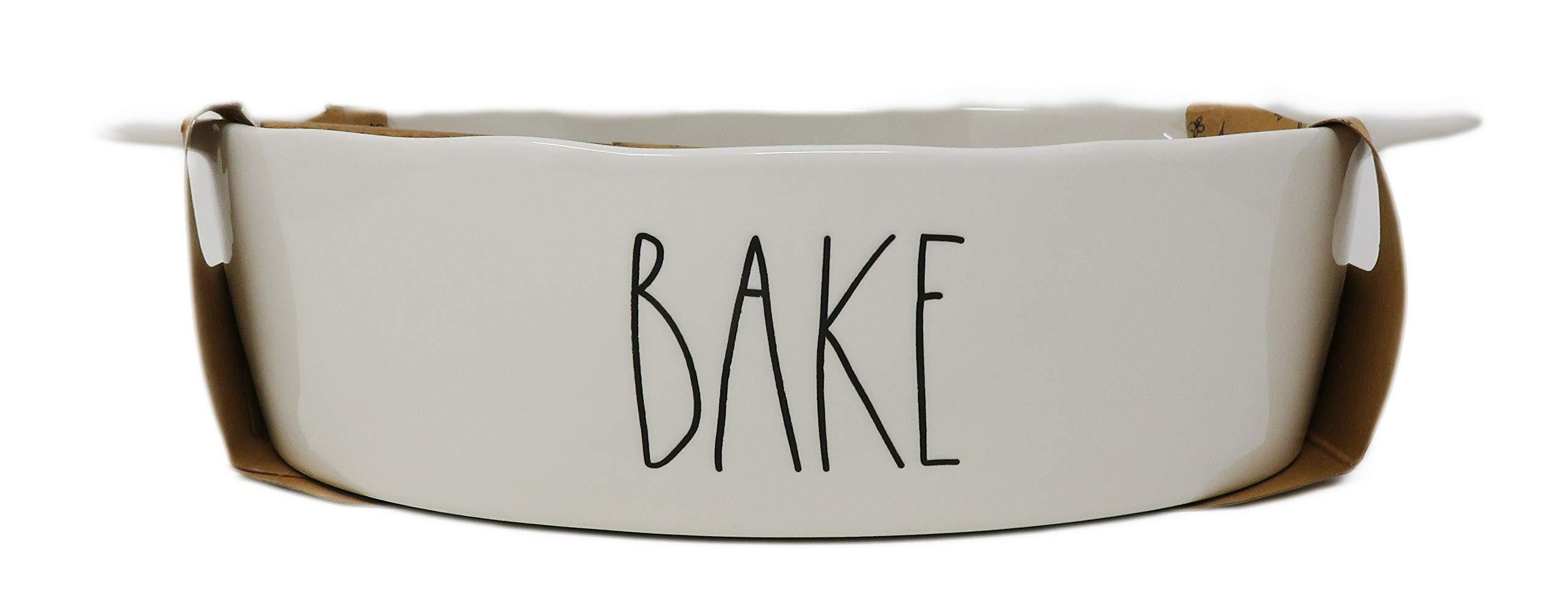 Rae Dunn By Magenta 2 Piece BAKE Ceramic LL Baking Dish & Wooden Spoon Set