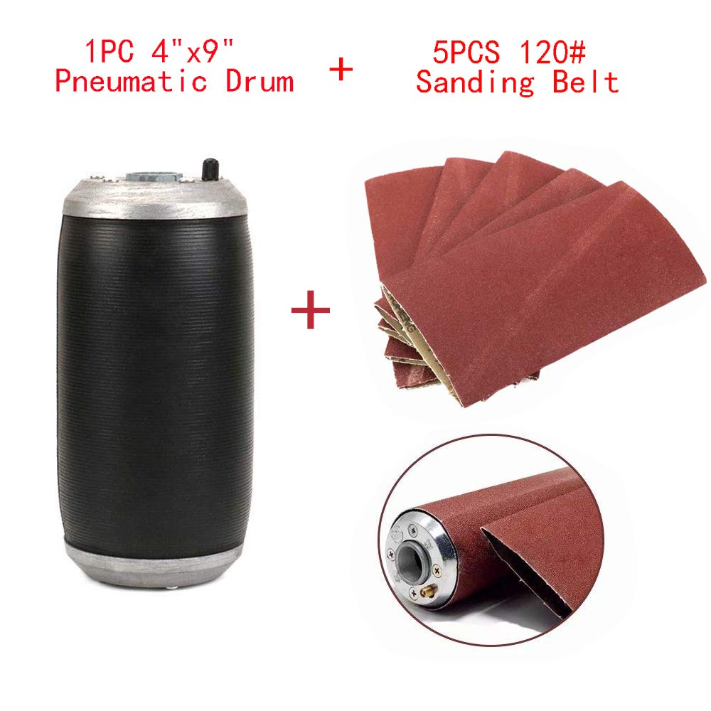 4''x9'' Rubber Sleeve Tube Pneumatic Drum Sander + 5Pcs 120 Grit Drum Sanding Sleeves Aluminum Oxide Sanding Belts Accessories for Woodworking,Furniture and other Non-Metal Polishing