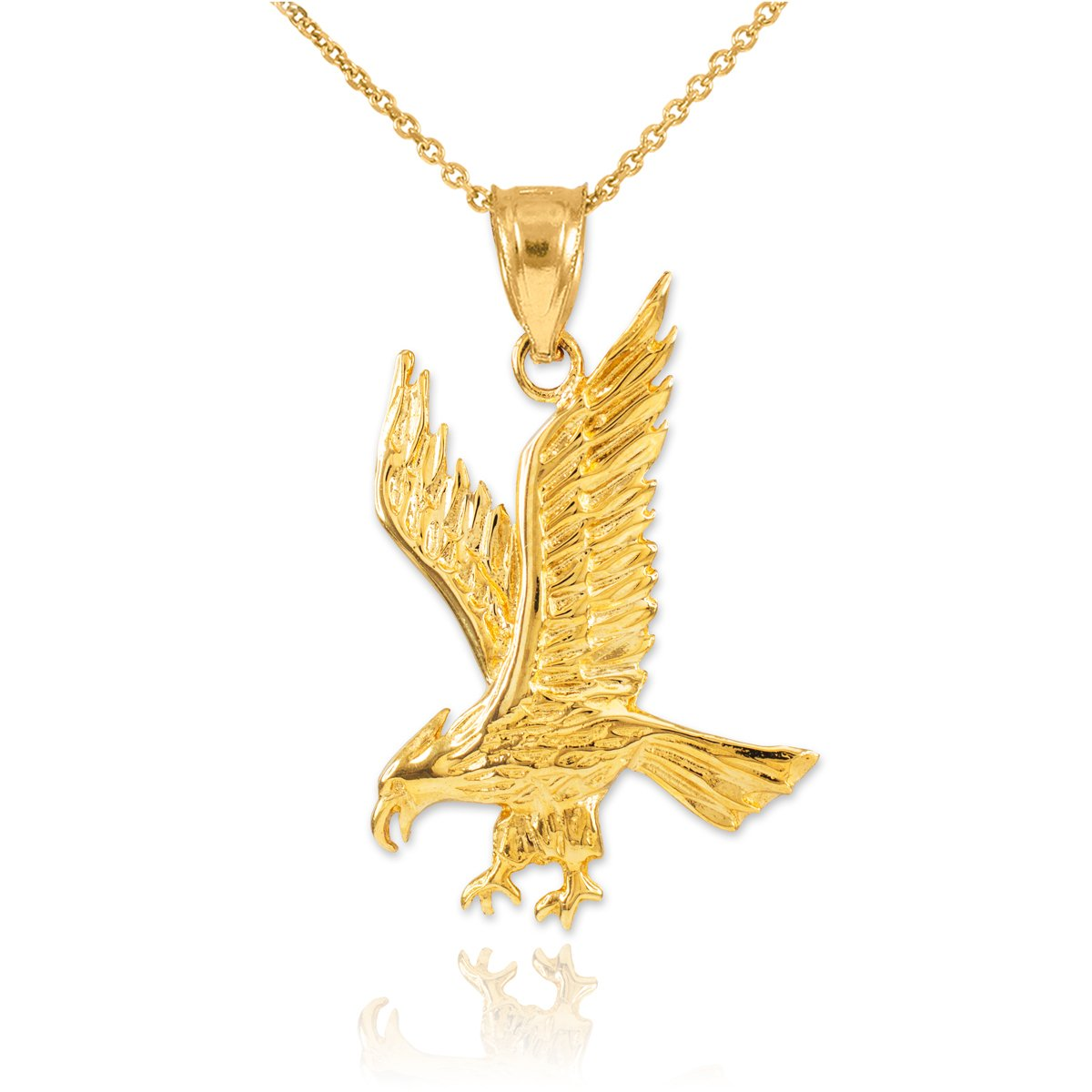 Fine 14k Yellow Gold Eagle Landing Pendant Necklace, 22''