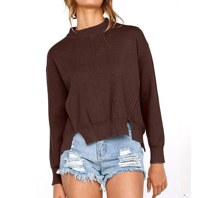 Btruely Herren_camisetas Mujers con Cuello Alto Sudadera para Mujer Camisa de Manga Larga O Cuello Blusa Casual Tops Jersey: Amazon.es: Ropa y accesorios