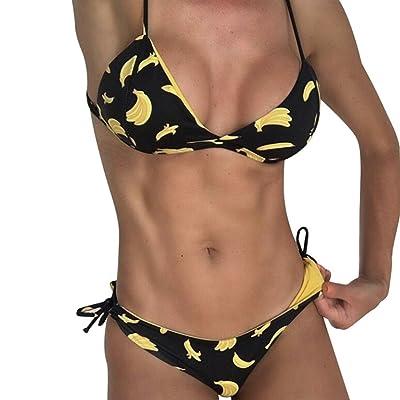 b3169fa693 Bluestercool Femmes Banane Imprimé Bikini Set Push-Up Rembourré Soutien-gorge  Maillot de Bain
