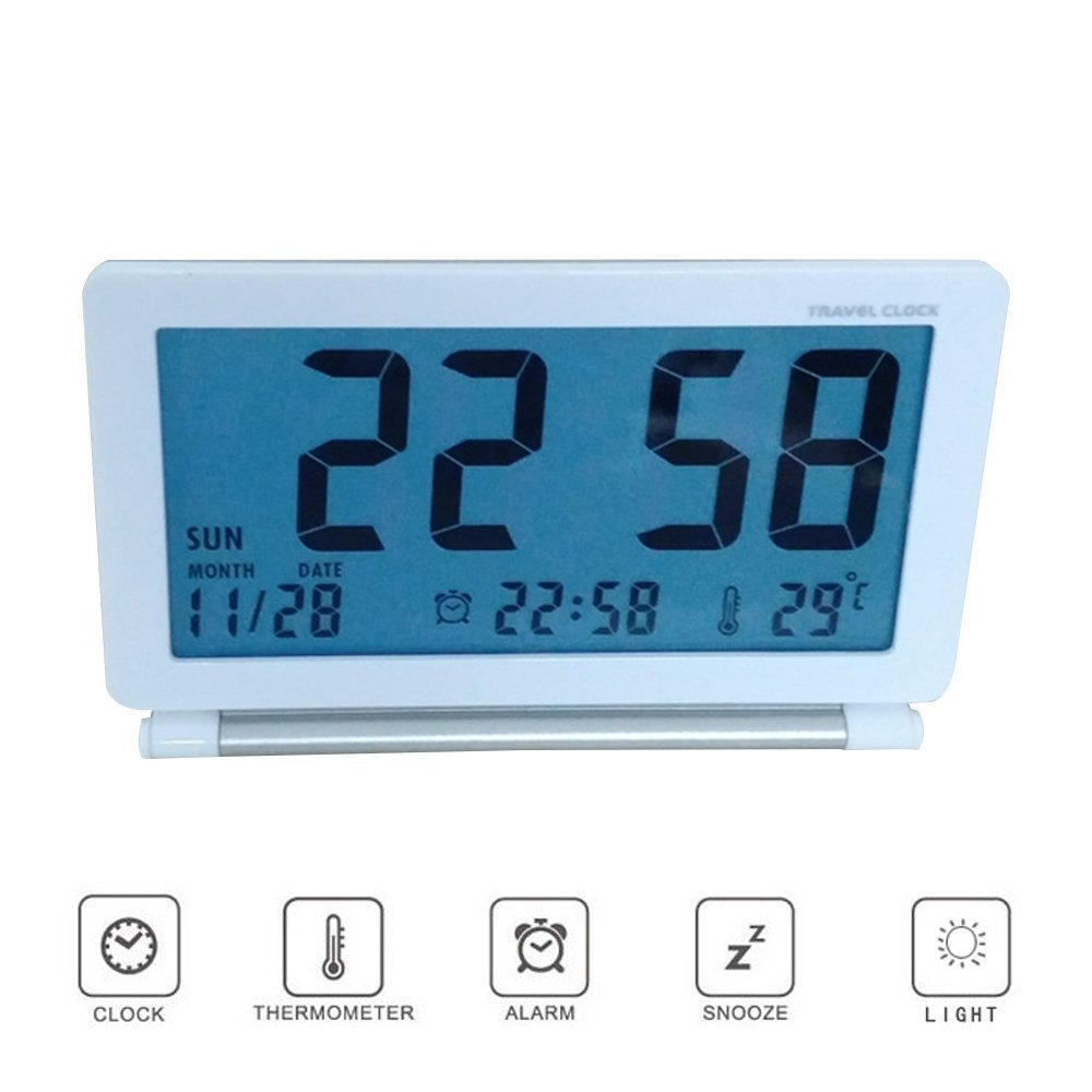 Kaimao Upgraded Version Travel Alarm Clocks with Soft Blue Backlight, Silent LCD Digital Screen Desk Clock, Date/Time/Calendar/Temperature Display, Snooze, Folding Clock (White)