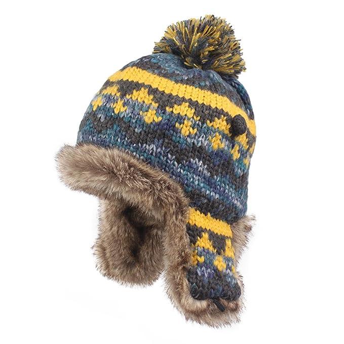 Kenmont Winter Women Lady 100% Hand Knit Faux Fur Earflap Beanie Hat Ski Cap  ( 9f5d4c99c
