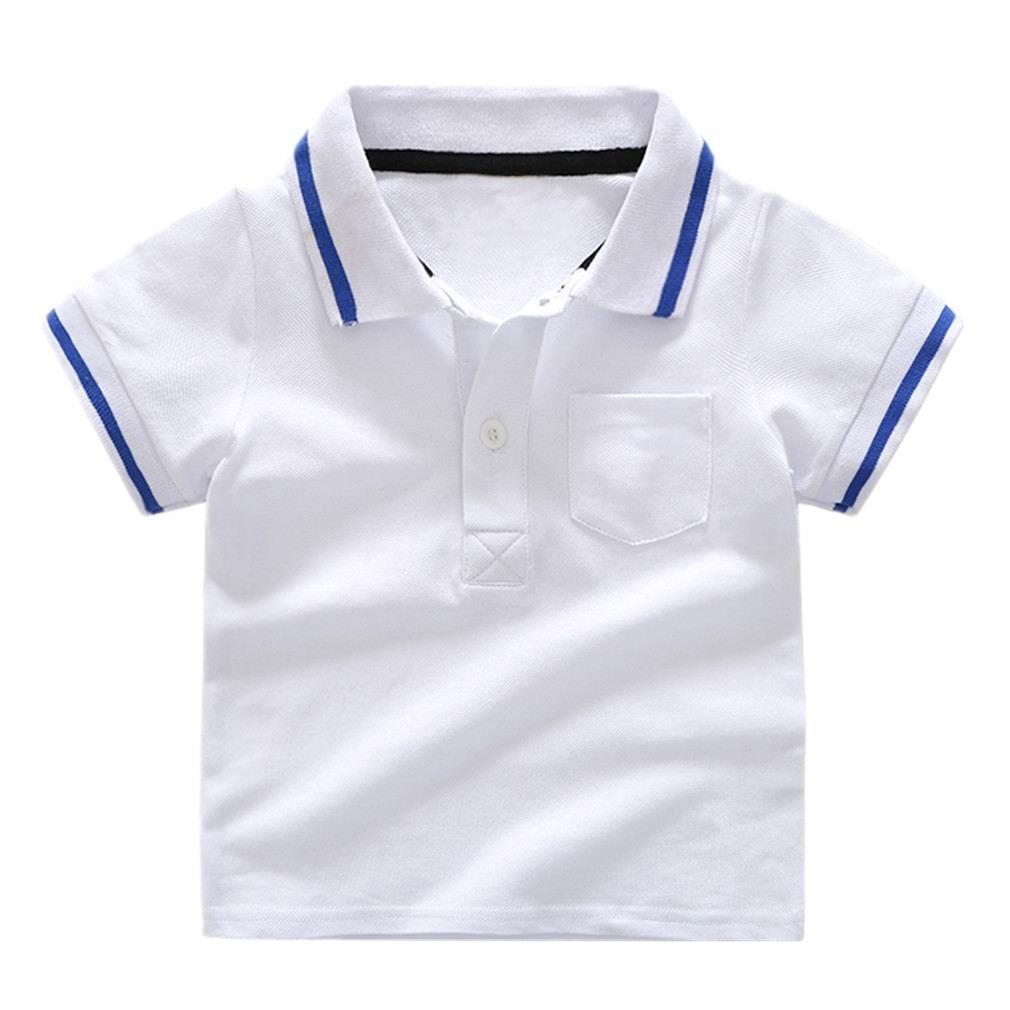 Motteecity Little Boys Polo-Shirt Striped Buttons