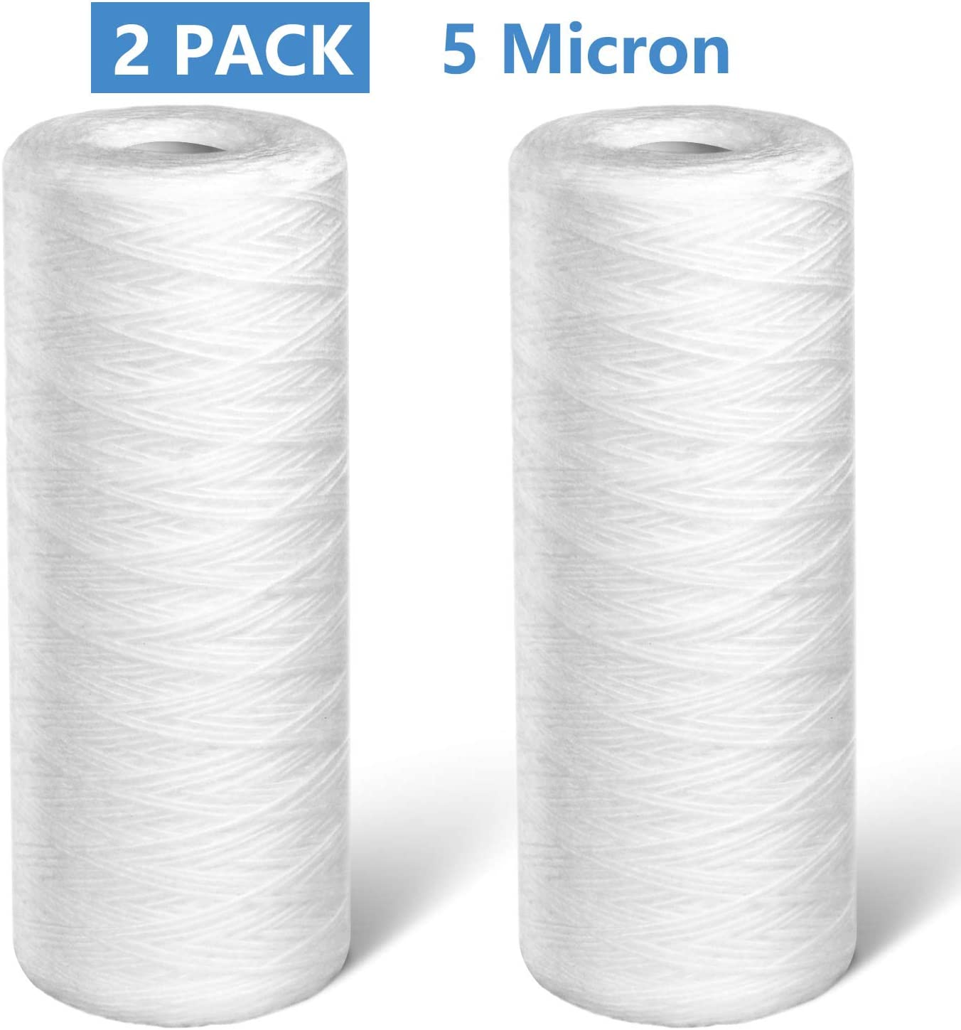 "Lafiucy 5 Micron 10"" x 4.5"" String Wound Sediment Water Filter Cartridge,2 Pack,Whole House Sediment Filtration, Universal Replacement for 10 inch Reverse Osmosis Unit"