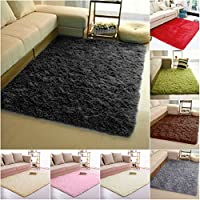 Junda Shaggy Fluffy Rugs Anti-Skid Area Rug Floor Mats Door Mats Silk Plush Carpet for Living Room Hallway Bedroom - Black, L