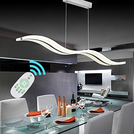 Modern Acrylic LED Pendant Wave Light Shape Chandeliers Island Dining Room Lighting Fixture With Max 36W Support Dimming Remote Control