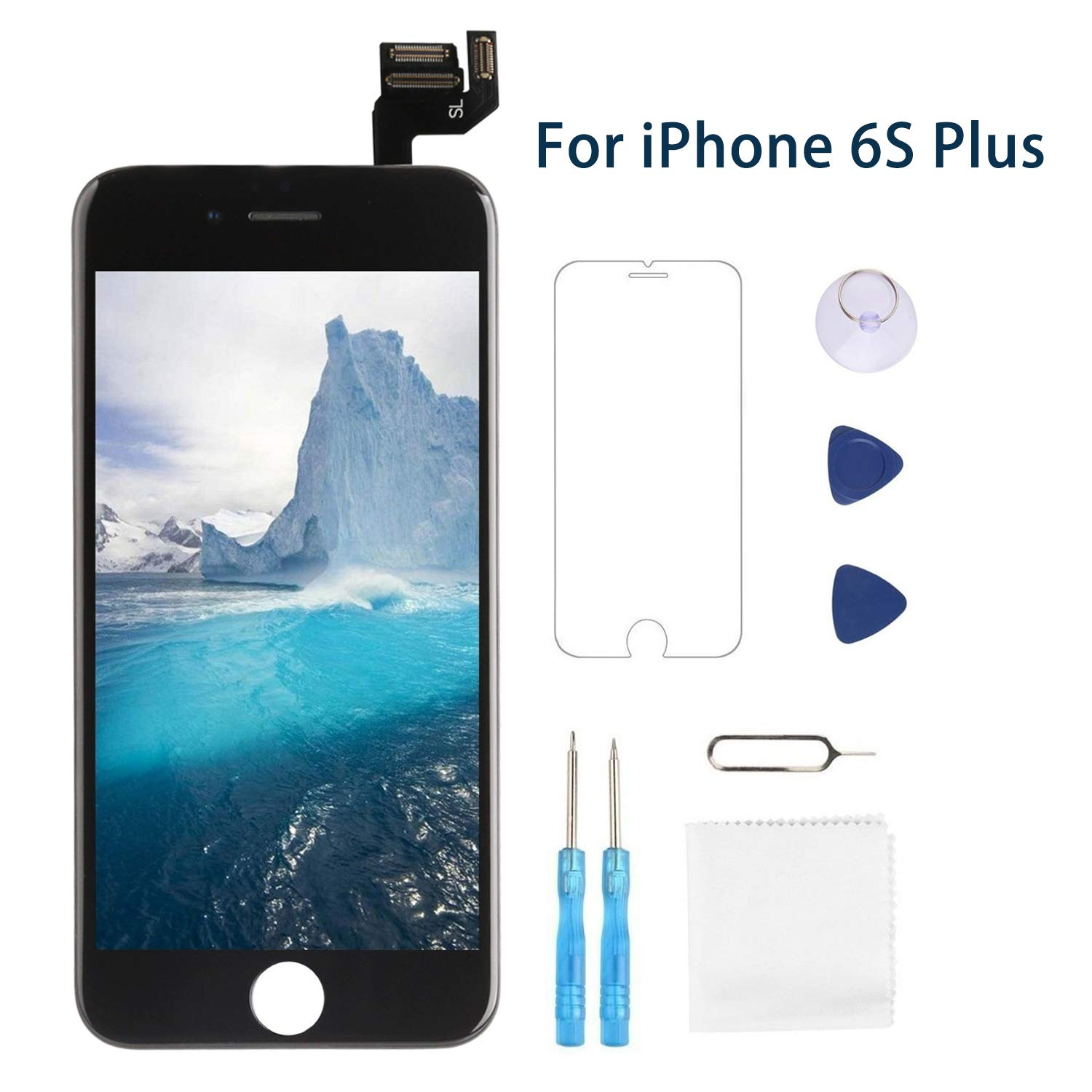 Screen Replacement for iPhone 6 Black 4.7' LCD Display Touch Digitizer Frame Assembly Full Repair Kit, with Home Button, Proximity Sensor, Ear Speaker, Front Camera, Screen Protector, Repair Tools Fix4U 4335017659