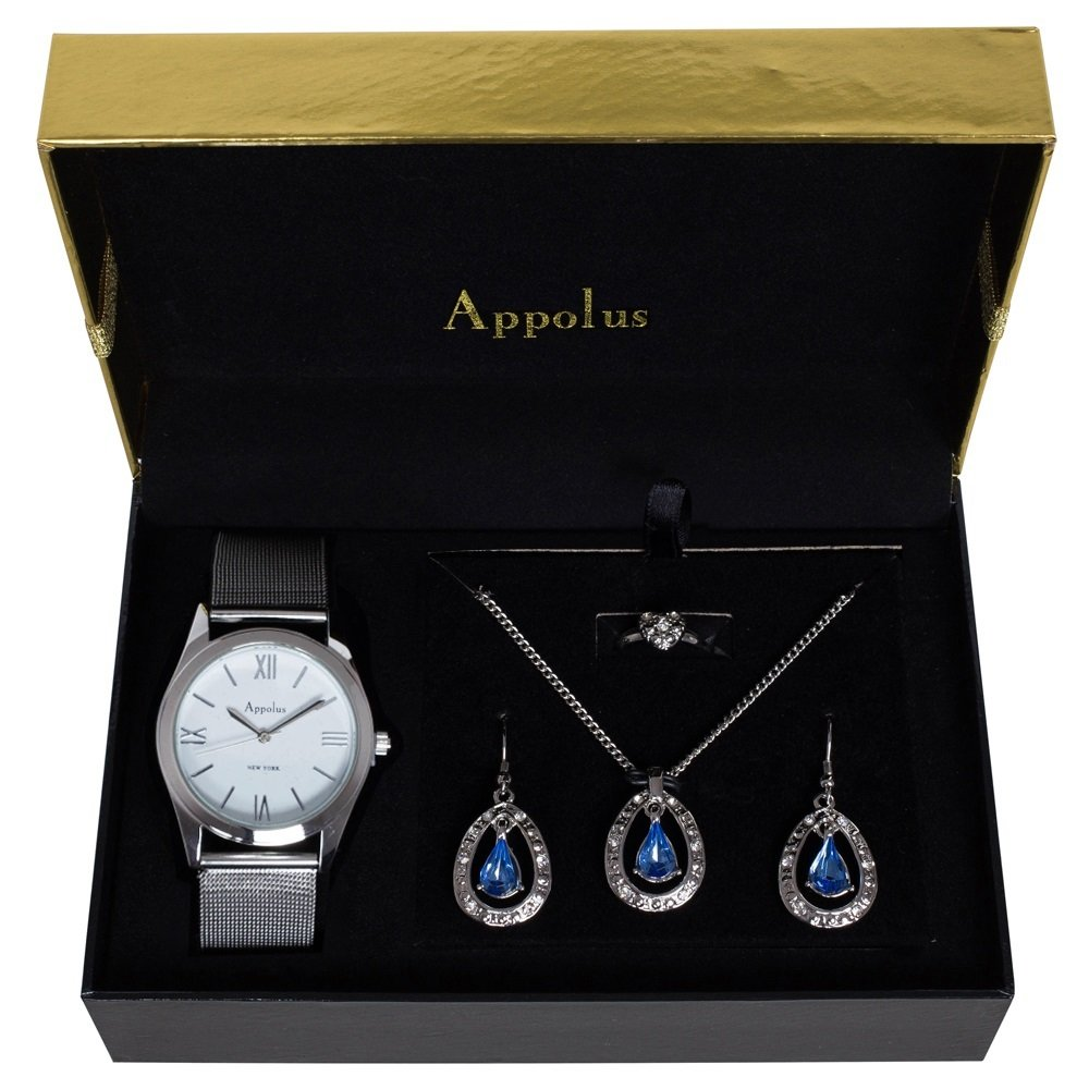 Appolus Watch Necklace Earrings set - Birthday Gifts For Women Mom Girlfriend Wife Anniversary Graduation (Silver3)