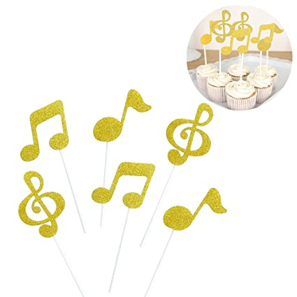 ROSENICE Music Cake Toppers 6pcs Music Symbols Notes Cupcake Toppers for  Birthday Party Decor(Gold)