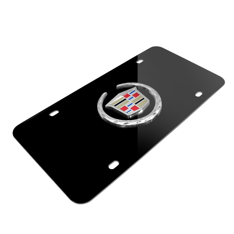 Cadillac Logo on Black Metal License Plate Au-Tomotive Gold INC