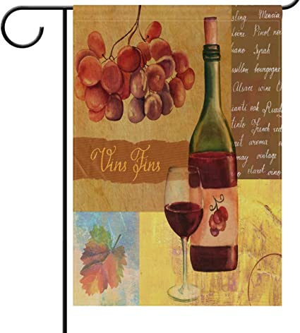Wamika Welcome Wine Garden Flags 12 X 18 Double Sided Cheers Vintage Fine Red Wine Glass Grapes Leaf Happy Hour And Drinks Beer Cocktail Party Wine A Bit Outdoor House