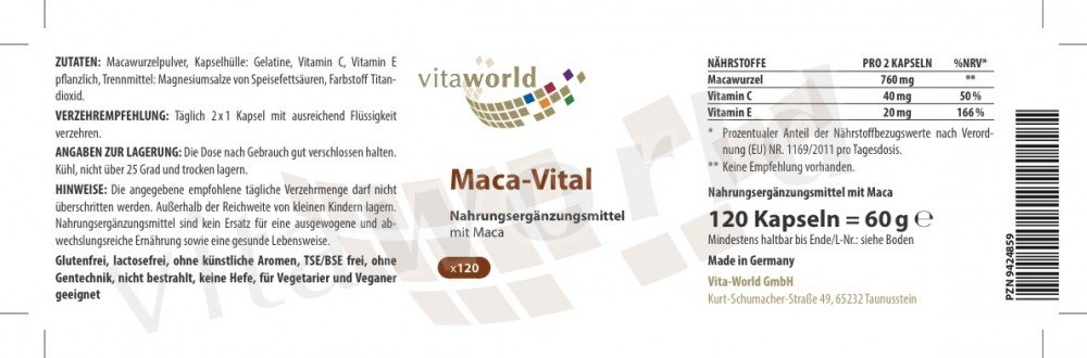 Maca 380mg + Vitaminas C y E 120 Cápsulas Vita World Farmacia Alemania - Raiz de Maca - Perú: Amazon.es: Salud y cuidado personal