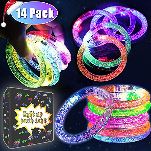 14 Pack LED Bracelets Light Up Toys Glow in the Dark Christmas Party Supplies Fluorescence LED Multicolor Flashing Bracelet for Wedding,Birthday,Night Games Fun Events Holiday 2019 New Year LED Party