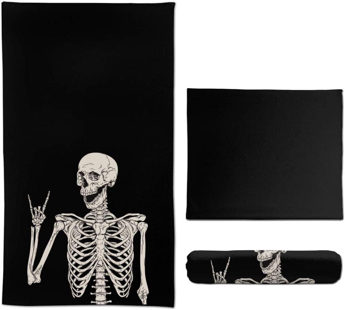 Ouqiuwa Soft Rock and Roll Skeleton Skull Boho Hippie Hand Towels 27.5x15.7 in Thin Bathroom Towel, Small Bath Cloth Decor Gifts Multipurpose for Bathroom Kitchen Gym Yoga