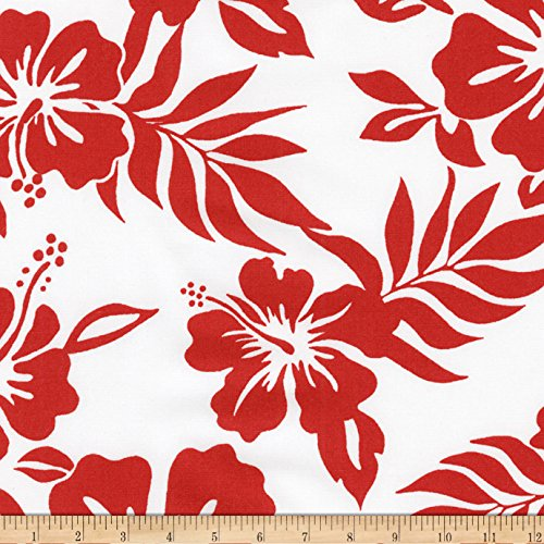 Kaufman Sevenberry Island Paradise Flowers Red Fabric By The (Hawaiian Print Fabric)