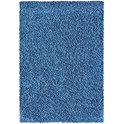 "Ottomanson SHG2866-3X5 Cozy Color Solid Shag Contemporary Living and Bedroom Soft Shaggy Kids Area Rug, 3'3"" X4'7, Navy"