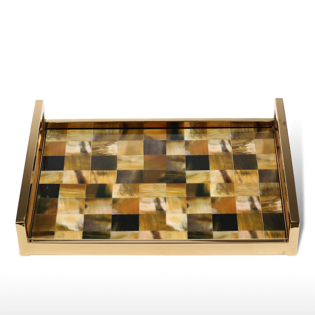 Tooarts Rectangular Tray with Horn Stripes(Large Size) Wooden Piano Baking Varnish Technology Tea Tray Fruit Tray Coffee Tray Home Decor