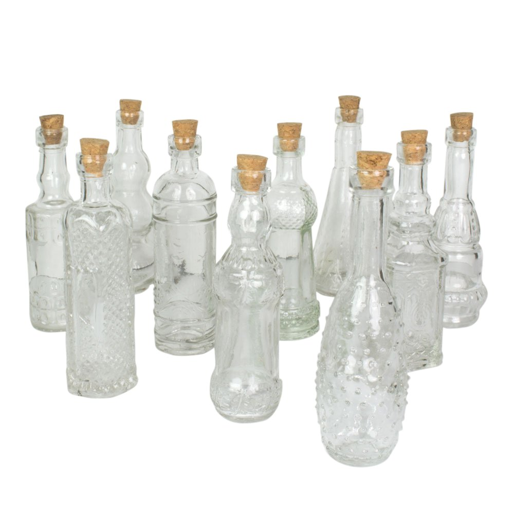 Vintage Glass Bottles with Corks, Bud Vases, Assorted Shapes, 5 Inch Tall, Set of 10 Bottles, (Clear) by Darice