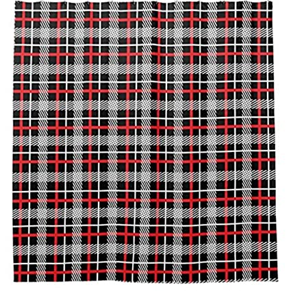 Image Unavailable Not Available For Color Red Black And White Tartan Plaid Shower Curtain