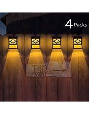 Solar Powered Garden Light Fence Lights Decorative 4 Pack Waterproof Fence/Wall/Step/Outdoor Christmas Lights Led Solar Lights Outdoor