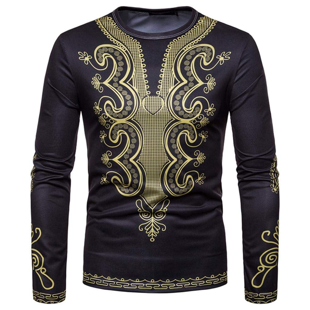 kaifongfu Men Long-Sleeved Round Neck Top with African 6D Print Sweatshirt TopBlackM