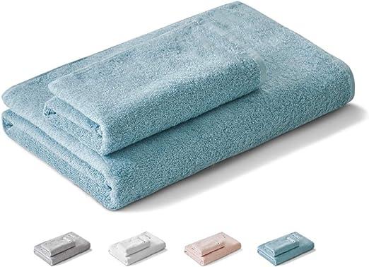 WYQ Juegos de Toallas Juegos de Toallas de baño Pack-2 (Toalla de baño y Toalla de Mano) Suave Absorbente de algodón Suave Familia Grande Hotel SPA Toallas Multiusos (Color : Azul): Amazon.es: