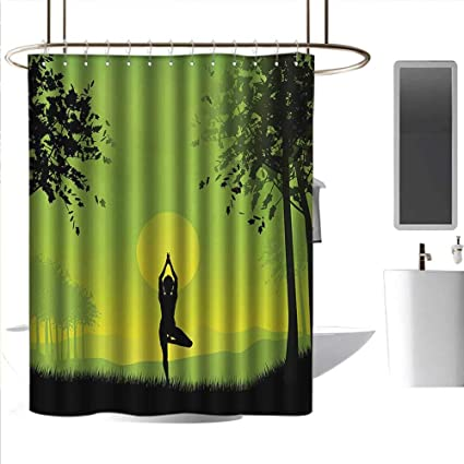 luvoluxhome Shower Curtains with Shower Hooks Night Sky with Stars and Moon Satin Fabric Sets Bathroom W36 x L72