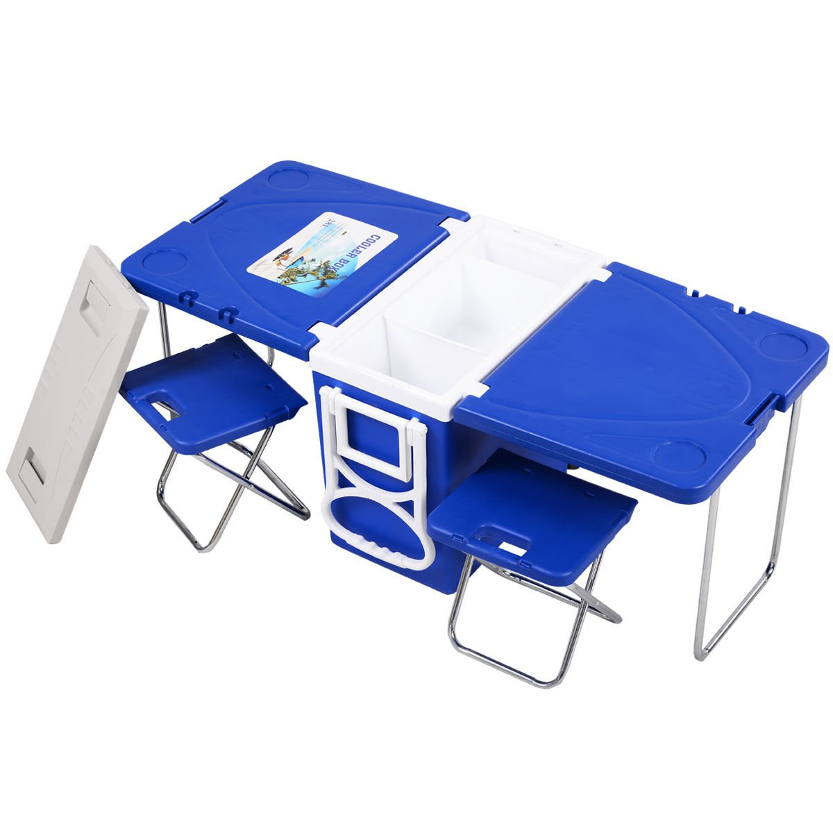 Outdoor picnic camping blue multi function rolling cooler with table & 2 chairs folds out easily and packs up within minutes