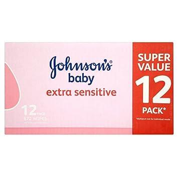 Johnsons Toallitas Húmedas Para Bebés Sin Fragancias Más Sensible (56 Por Paquete X 12)