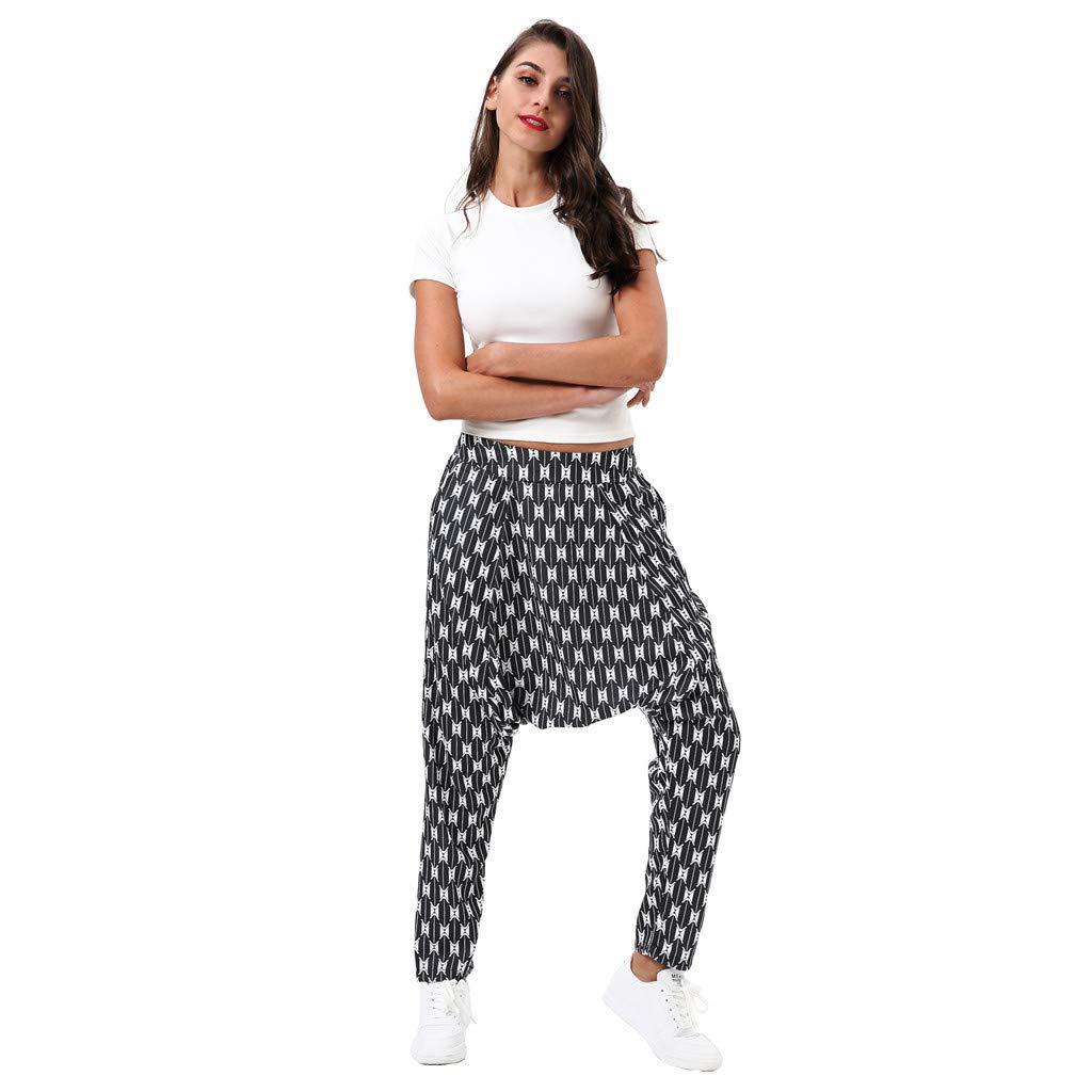 DaoAG-Summer Clothes Women Baggy Harem Pants Bohemian Hippie Wide Leg Gypsy Yoga Palazzo Pants 3D Print Couple Sweatpants Pants with Pockets